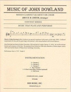 Music of John Dowland for Clarinet Quartet or Choi...